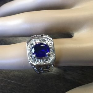 Other - Men's Blue Stone Statement Ring Size 7